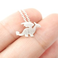 Mythical Creatures Dragon Shaped Silhouette Charm Necklace in Silver from DOTOLY