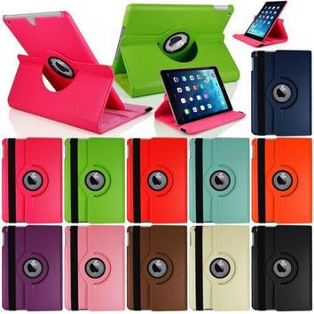 360 Rotating Stand Flip Smart PU Leather Case Cover for Case Apple iPad Air 1st Generation (2013) Cover w/Screen Film Stylus Pen