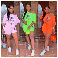 Champion Hot Sale Woman Casual Embroidery Short Sleeve Top Shorts Set Two Piece Sportswear