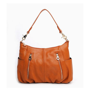 Casual Chic Front Zip Brown Leather Shoulder Bag. Genuine Leather Handbag. Color Choice