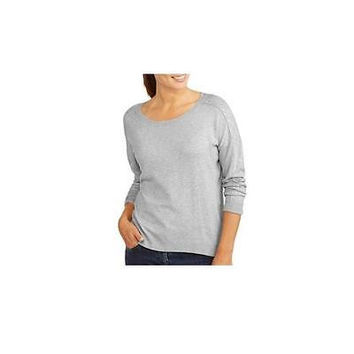 George Women's Scoop Neck Embellished Sleeve Sweater, Lt Grey, 10