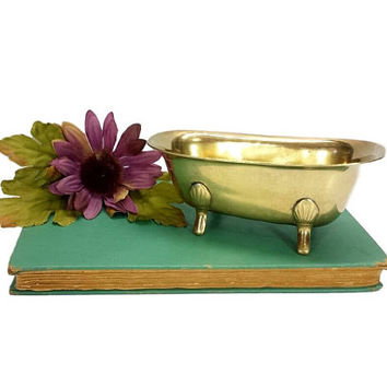 Brass Bathtub Soap Dish Holder Vintage Bathroom Kitchen Storage Decor Claw foot Tub