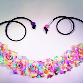 Pastel Electric Rose Flower Headband, Flower Crown, Flower Halo, Festival Wear, EDC, Neon, Coachella, Ultra Music Festival, Rave