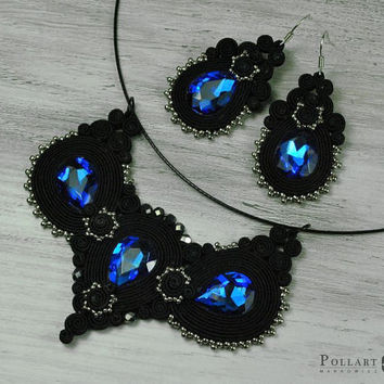 Soutache set Soutache earrings Orecchini soutache Soutache bilateral Necklace soutache Pendant soutache Black soutache Sapphire soutache