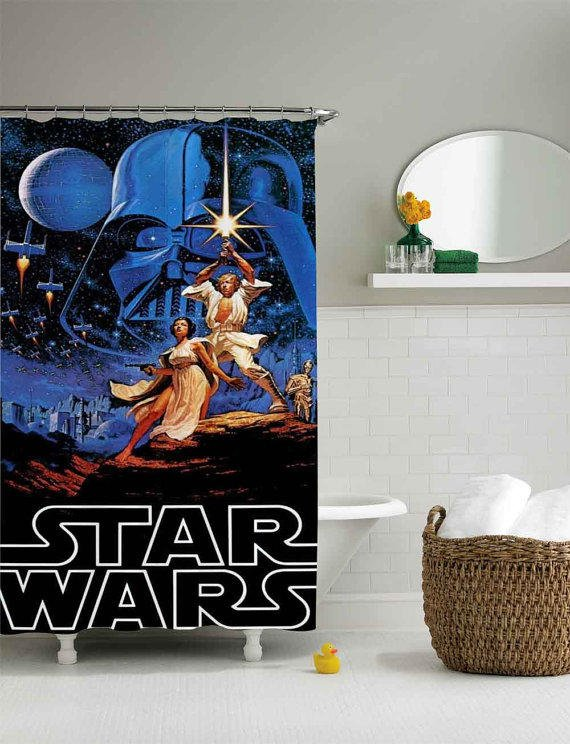 Retro Star Wars Shower Curtainshower From Sarbotexas On Etsy