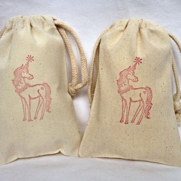 """13 Unicorn party favor bags 4"""" by 6"""" made of Organic Cotton - you choose ink color(s)"""