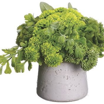 Lifelike Mixed Greenery Small Arrangement In Decorative Container
