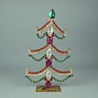 Vintage Rhinestone Christmas Red, Pink and Green Tree 1950's Czech Bohemian Tabletop Decoration