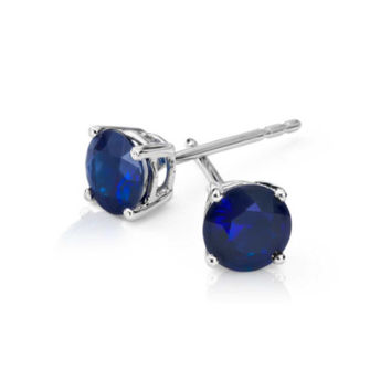 Platinum Over Sterling Silver Round Blue Sapphire Cubic Zirconia VS1