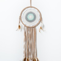 White and Green Crochet Dreamcatcher