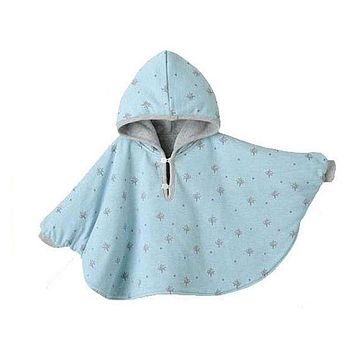 Girl Bat Sleeve Cotton Hooded Cape Cloak Jacket Child Kids Baby Cape Coat S2