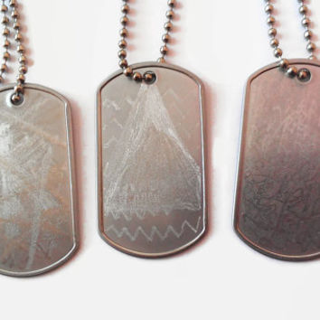 Custom Abstract Design Necklace Military Dog Tag Style Unisex Silver Metal Stainless For Him Her Engraved by Hand