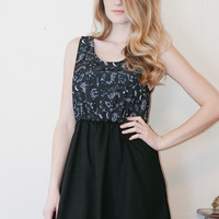 Night Creatures - Eve & Lilith inspired black dress with owls, snakes, and cats