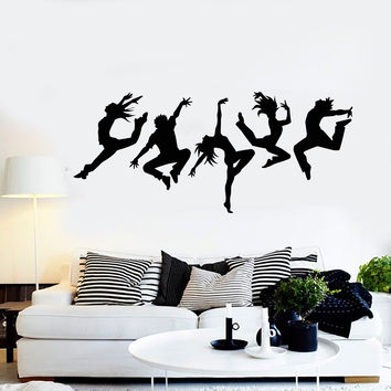 Vinyl Wall Decal Dance Studio Silhouette Dancing People Stickers Mural Unique Gift (ig4988)