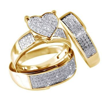 3 PCS Heart Shape Puffed Marine Micro Paved CZ Iced Out Ring