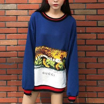 DCCKHI2 Gucci Long Sleeve Hooded Tank Print Tattoo Sweater Blue Tagre-