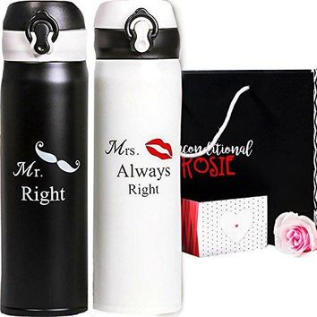 Wedding and Anniversary Gift by Unconditional Rosie - Set of Two Matching Stainless Steel Flasks. These Thermo Set Comes in a Gift Box! Funny, Unique, and Personalized Couples Gifts for Him and Her!