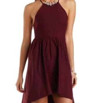 Strappy Racer Front Skater Dress by Charlotte Russe - Wine