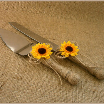 Wedding Cake Cutting Set Sunflower Set Cake Serving Set  Cake Knife Set Rustic Rustic Cake Server Set