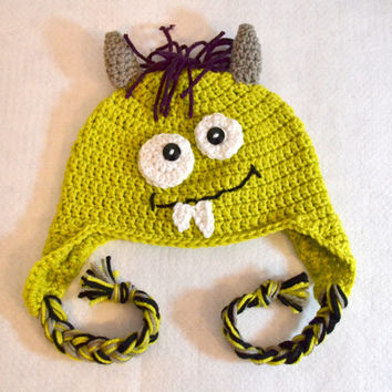 Ready To Ship - Childs Monster Hat, Yellow Green Monster, Crochet Winter Hat, Halloween Costume, Earflaps, Braided Tails