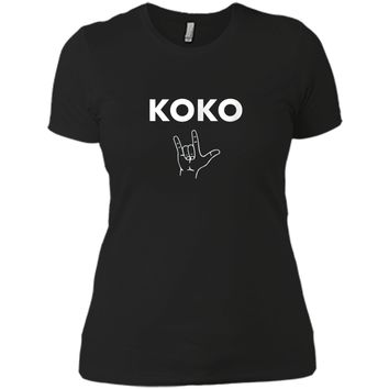 Koko I Love You- Gorilla Sign Language Tribute T-Shirt Next Level Ladies Boyfriend Tee