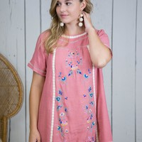 Mana Embroidered Dress, Rose