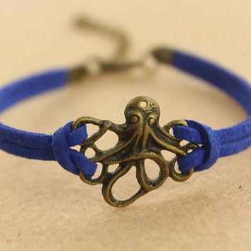 bracelet--octopus bracelet,antique bronze charm bracelet,Sapphire blue leather bracelet,personality bracelet,MORE COLORS
