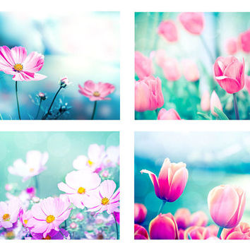 botanical photography print set nature photograloy floral 8x10 16x20 fine art photography tulips spring wall decor nursery pink magenta aqua