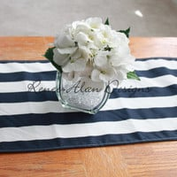 Navy and white striped table runner - Wedding Table - Dining Table - Shower - Coffee Table
