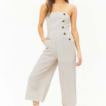 Striped Linen-Blend Button Palazzo Jumpsuit