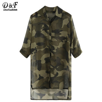 Dotfashion Summer Women Tops Olive Green Camo Print High-Low Chiffon Shirt Lapel Half Sleeve Buttons Front Blouse