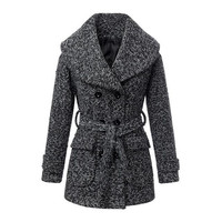 2015 Autumn lady brand big turn down collar double breasted slim fit woolen coats women winter warm outerwear 226292