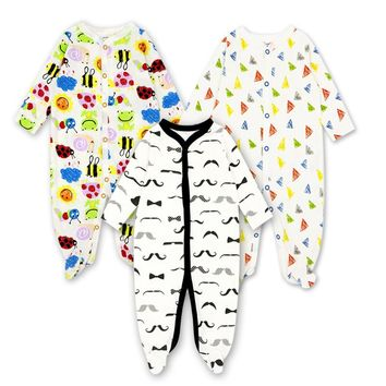 Baby unisex 3pcs/lot rompers new born baby clothes cotton long sleeve rompers baby girls boys clothing Jumpsuit Baby Clothes 12m