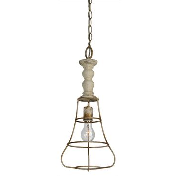 Industrial Caged Pendant Lamp | Buttermilk Finish | 21-in