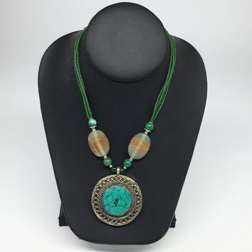 Turkmen Necklace Afghan Ethnic Tribal Turquoise Inlay Beaded Pendant Necklace VS166