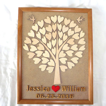 3D Wedding Guest Book Alternative Personalised Wooden Guest Book Custom Wedding Guestbook Rustic Tree Wedding Guest Book