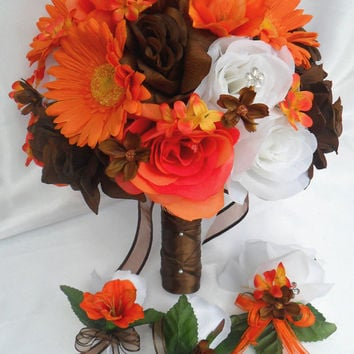 "17pcs Wedding Bridal Bouquet Set Decoration Package Silk Flowers WHITE ORANGE BROWN ""Lily Of Angeles"""