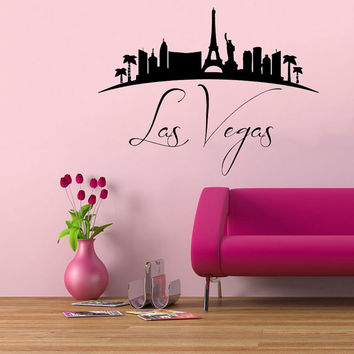 Las Vegas Wall Decals Landscape Stickers City Skyline Home Interior Design Art Mural Vinyl Decal Sticker Living Room Bedroom Decor kk825