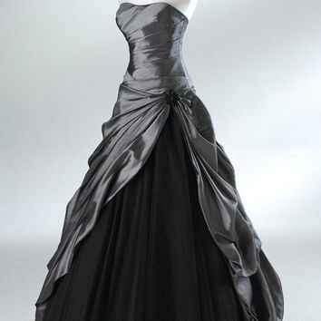Strapless Grey Satin A-Line Prom Dresses,Prom Dress