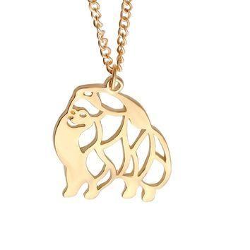 Cut Out Dainty  Puppy Dog Pendant Necklace