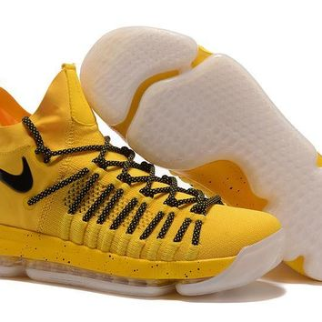 auguau Nike Men's Durant Zoom KD 9 Flyknit Mid-High Basketball Shoes Yellow 40-46