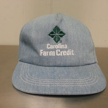 Vintage 90's Light Wash Denim Carolina Farm Union Snapback Dad Hat NWOT Made In USA New Without Tags