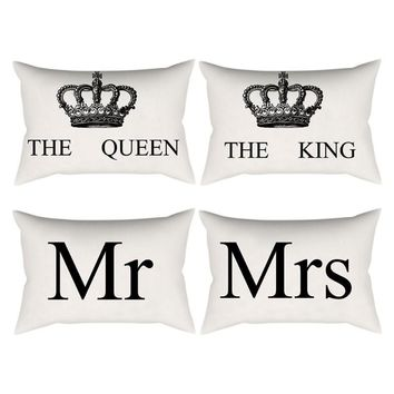 Cool Linen Cotton Cushion Cover Crown Queen King Print Decorative Pillowcase for Sofa Seat Pillow Covers Home DecorationAT_93_12