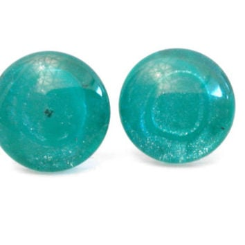 Sparkly Dark Teal Glitter Round Glass Cabochon Stud Earrings