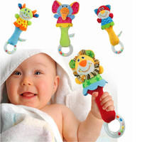 22CM Developmental Animal Soft Stuffed Infant Baby Plush Toys Rattles Kids Plush Animals Toys