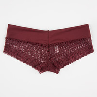 Lace Thick Waistband Boyshorts Burgundy  In Sizes