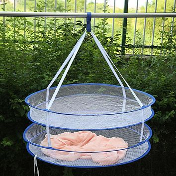 Super Useful S Hook Drying Rack Folding Hanging Clothes Laundry Basket Dryer Net 5 Styles