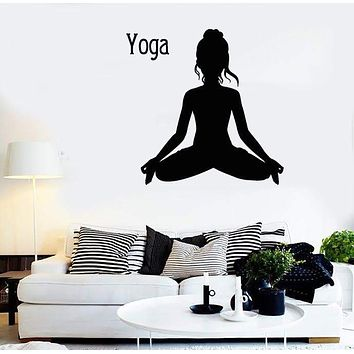 Wall Stickers Vinyl Decal Yoga Sport Fitness Woman Decor For Living Room (z1702)