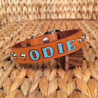 Leather Dog Collar-Personalized-Studded Collar-Natural