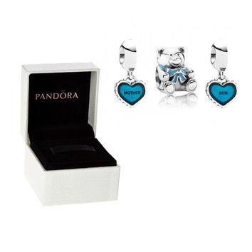 2x Authentic Pandora S925 Sterling Silver Mom Son Bear Heart Charm Beads w/ Box Free S